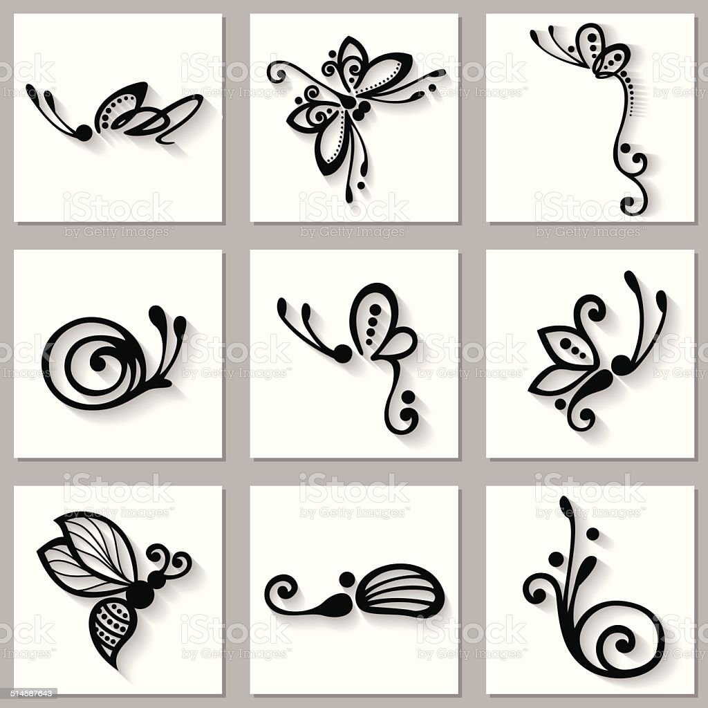 Vector Set of Stylized Ornamental Insects vector art illustration