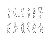 Vector set of stylized people figures, outline men and women in different poses.