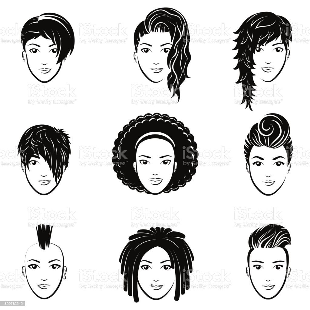 Vector Hairstyles: Vector Set Of Stylized With Beautiful Women Hairstyles