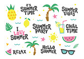 Vector set of summer elements. Text and food, fruits, drinks, palm leaves. Vector template for posters, stickers, cards, prints, party decoration and other.