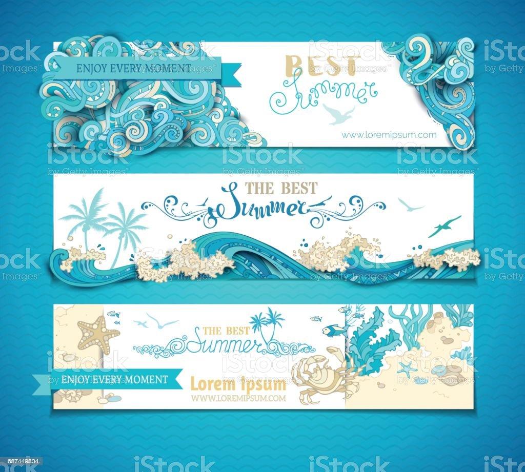 Vector set of summer marine horizontal banners. vector art illustration