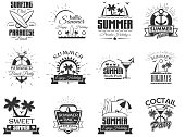Vector set of summer season labels in vintage style. Design elements, icons, . Summer camp, beach holidays, tropical sea vacations. - stock vector