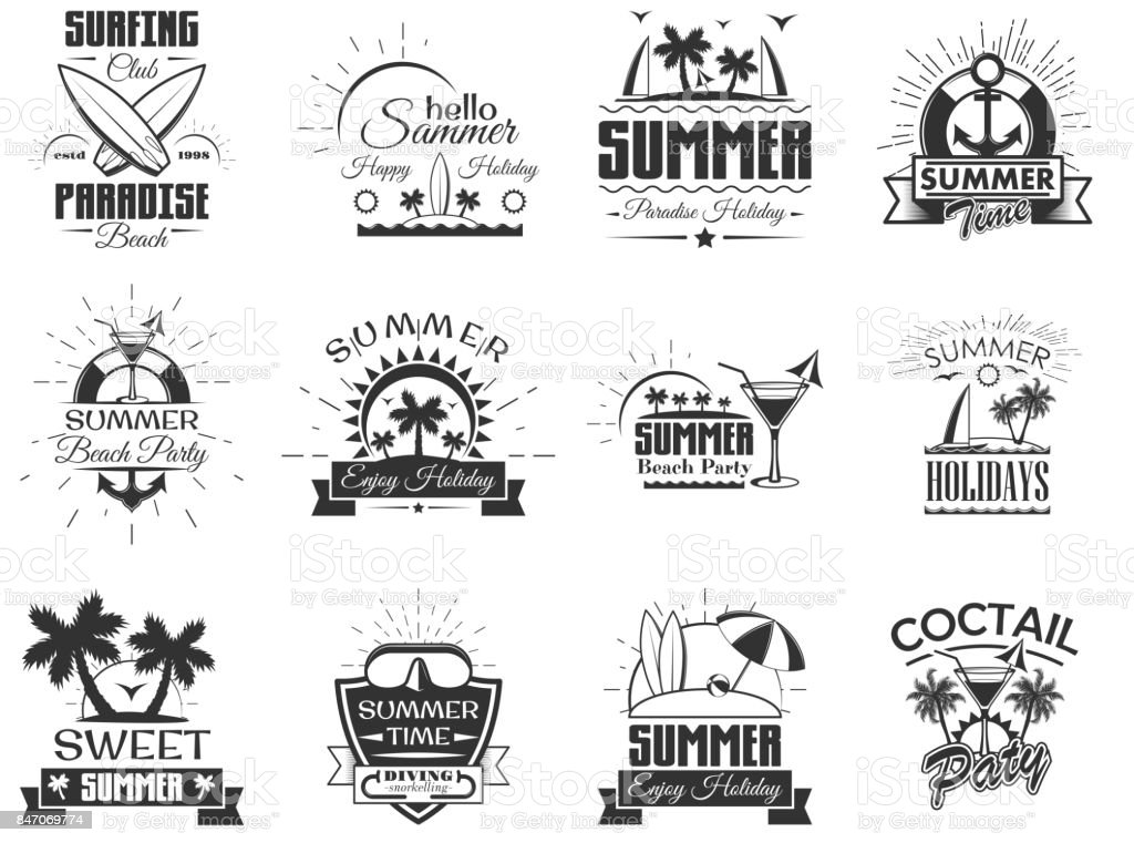 Vector set of summer season labels in vintage style. Design elements, icons, . Summer camp, beach holidays, tropical sea vacations. - stock vector vector art illustration