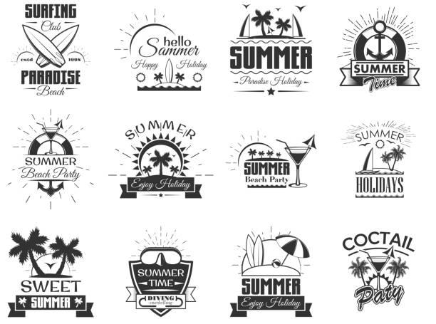 ビンテージ スタイルの夏シーズン ラベルのベクトルを設定します。デザイン要素、アイコンです。夏のキャンプ、ビーチの休日、熱帯の海の休暇。-株式ベクトル - ホリデーシーズンのアイコン点のイラスト素材/クリップアート素材/マンガ素材/アイコン素材