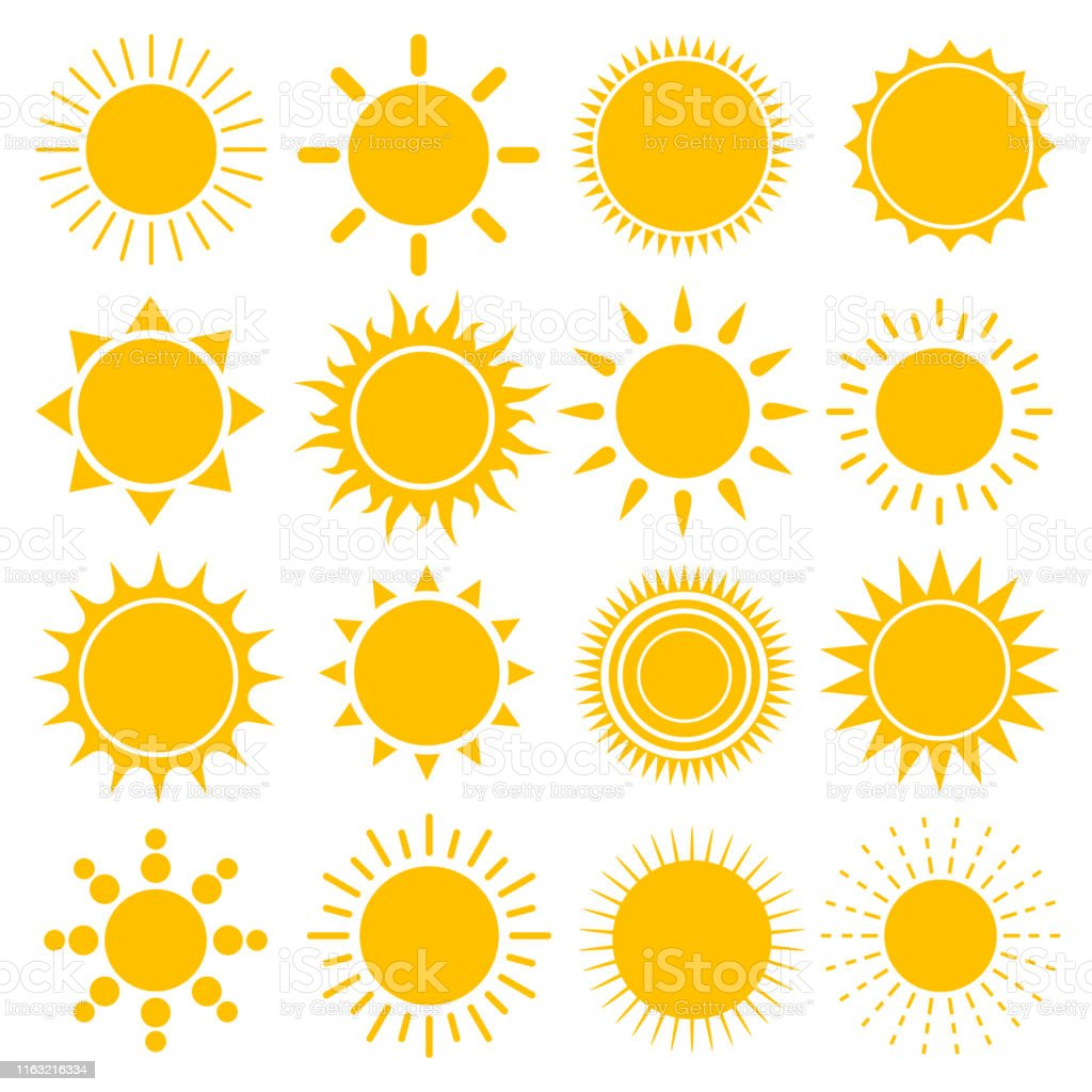 Jogo do vetor de ícones do sol - Vetor de Abstrato royalty-free