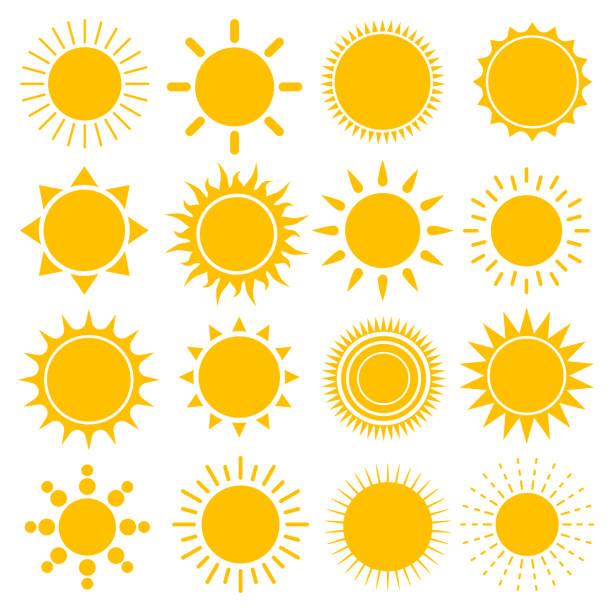 bildbanksillustrationer, clip art samt tecknat material och ikoner med vektor uppsättning av sun ikoner - sun