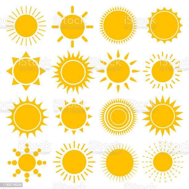Vetores de Jogo Do Vetor De Ícones Do Sol e mais imagens de Abstrato