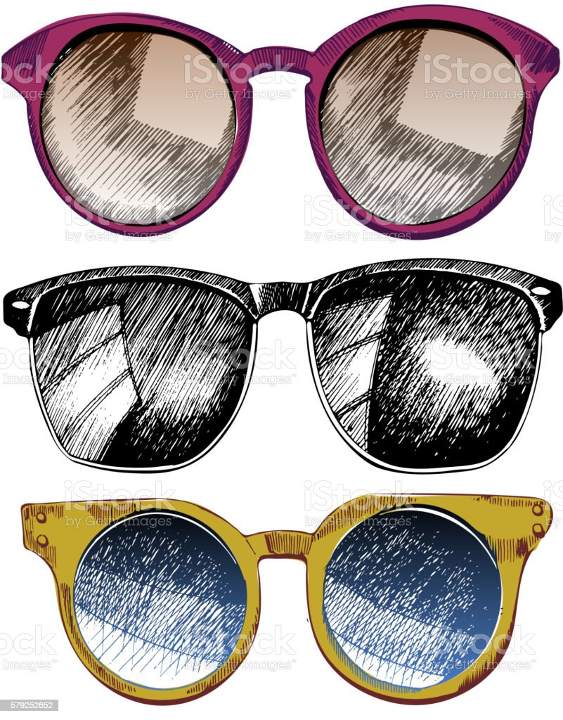 Vector set of sunglaces. Trendy hipster sunglases vector art illustration