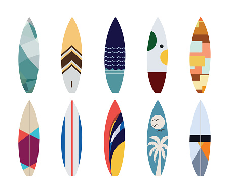 Vector set of surfboard designs isolated on a white background.