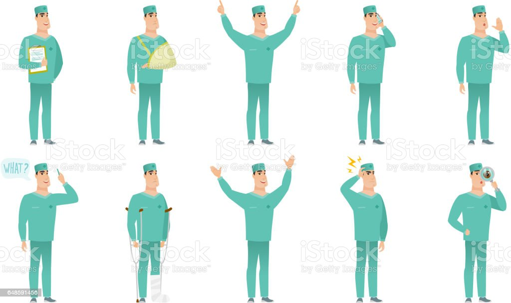 Vector set of surgeon characters vector art illustration