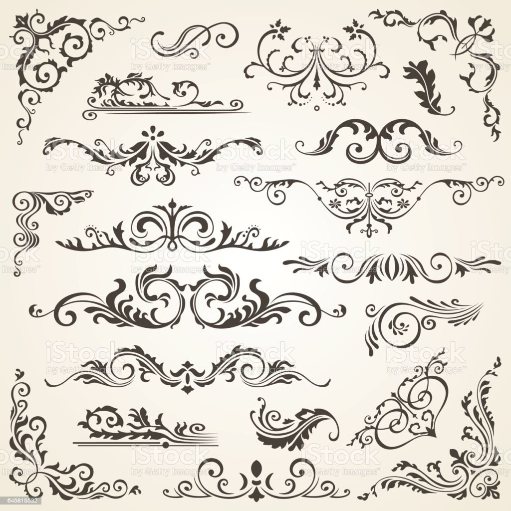 Vector Set Of Swirl Elements For Design Calligraphic Page Decoration Labels Banners
