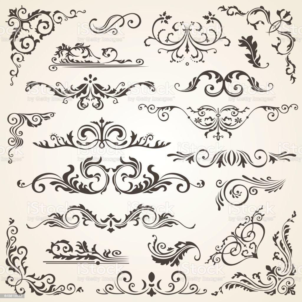 Jeu de Swirl éléments vectorielles pour la conception. Décoration de page calligraphiques, étiquettes, bannières, antiques et baroques ornements floraux de cadres. Vieux papiers - Illustration vectorielle