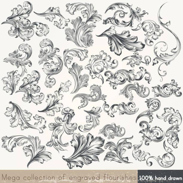 ilustrações, clipart, desenhos animados e ícones de vetor conjunto de elementos de design do redemoinho. caligráfico vetor - bordas florais