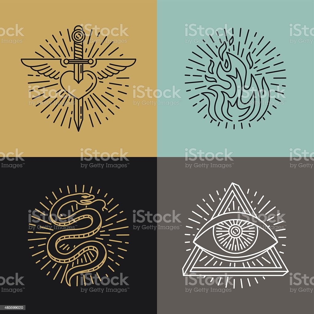 Vector set of tattoo styled icons vector art illustration