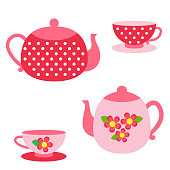 Vector set of tea pots and cups in  red and pink colors