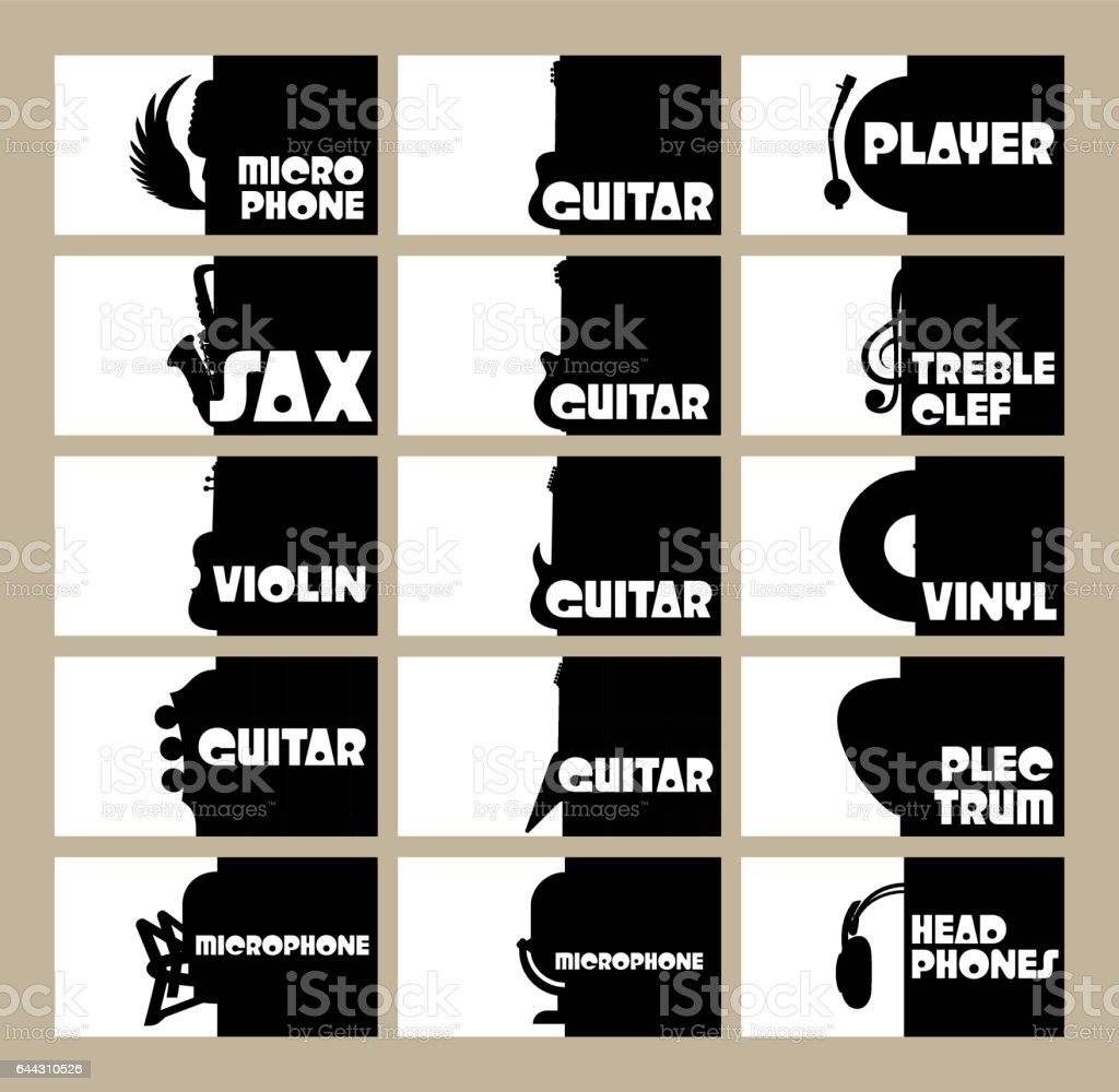 vector set of template for business cards on the theme of musical instruments, radio, disco vector art illustration