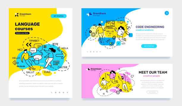 illustrazioni stock, clip art, cartoni animati e icone di tendenza di vector set of template with business illustration with people on color background. concept of education, engineering, teamwork with text. - didattica a distanza