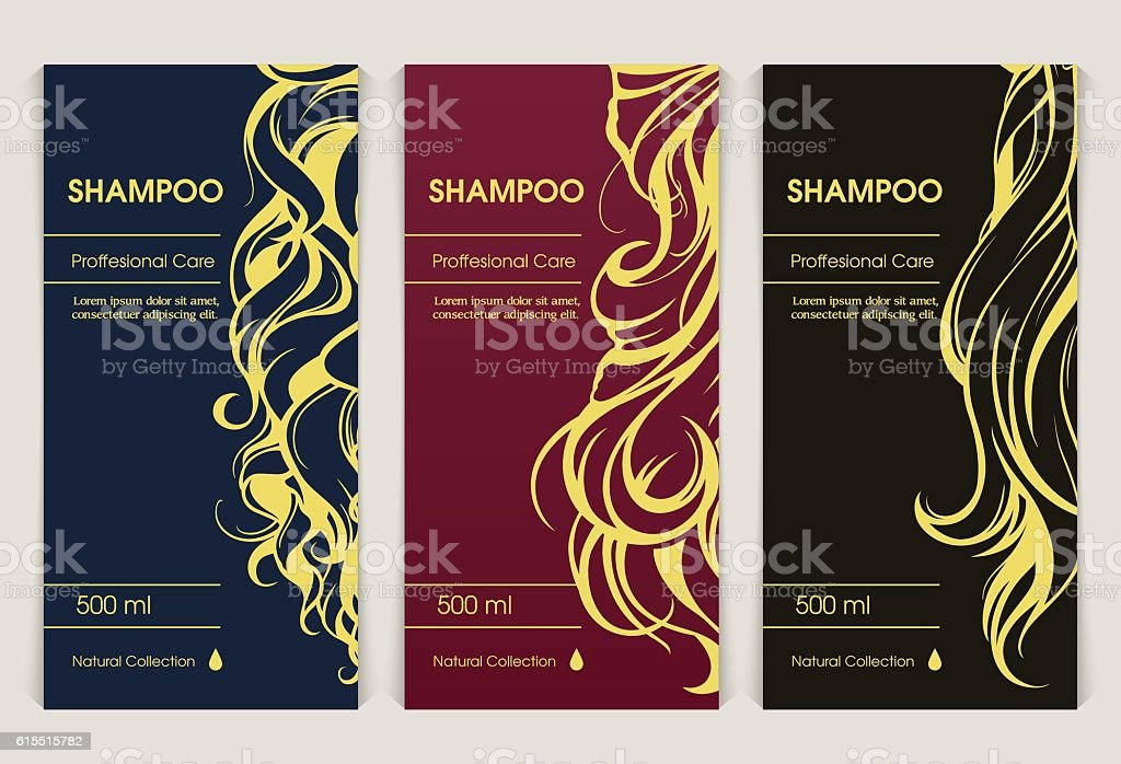 Vector set of templates packaging hair care cosmetics vector art illustration