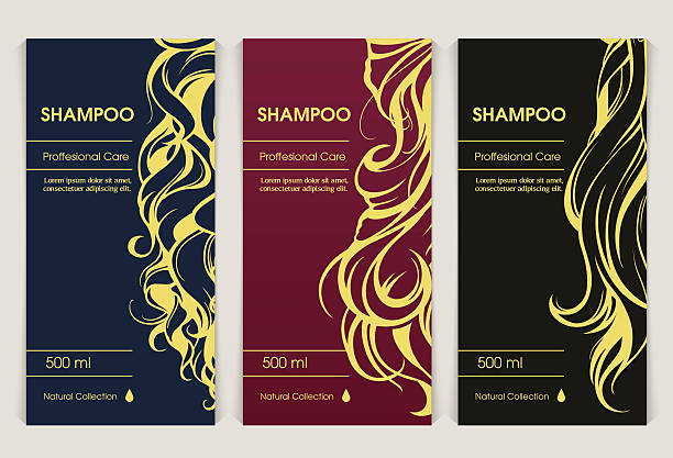 vector set of templates packaging hair care cosmetics - beauty salon stock illustrations, clip art, cartoons, & icons