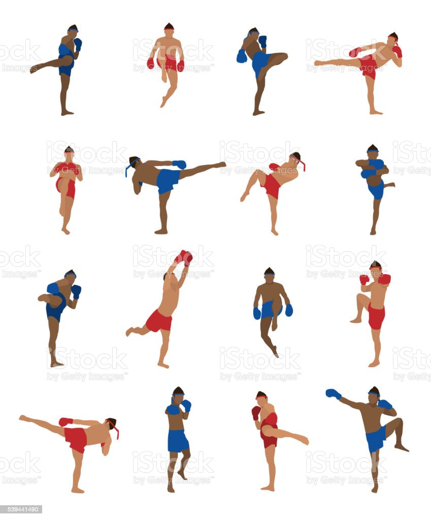 Vector set of thai boxing - Royalty-free Activiteit vectorkunst