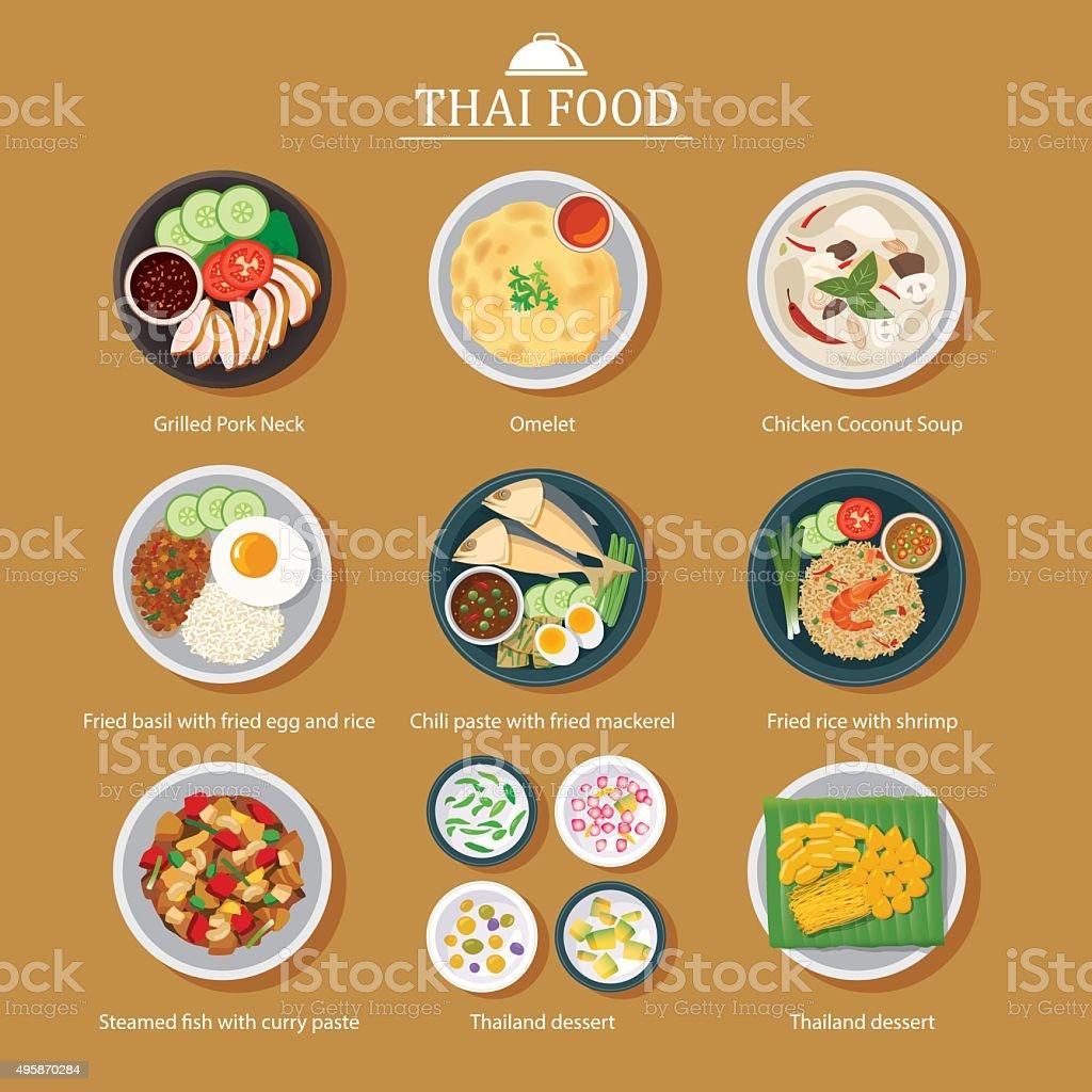 Conjunto de vetor de comida tailandesa design 2D - ilustração de arte em vetor