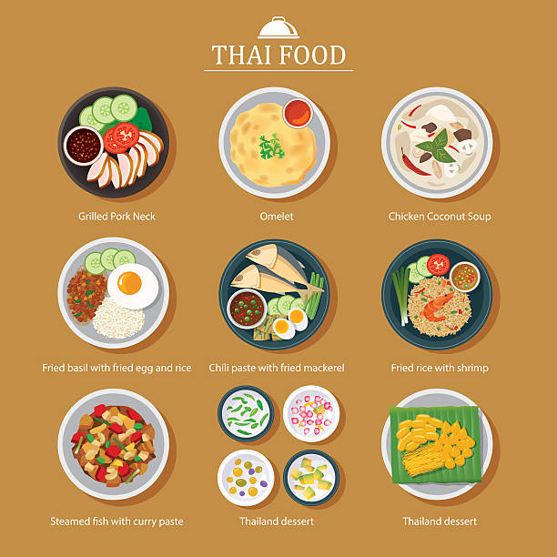 vector set of thai food flat design - thai food stock illustrations, clip art, cartoons, & icons