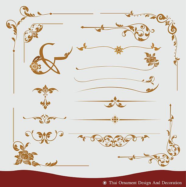 wektor zestaw tajski ozdoba projekt i dekoracji - tajlandia stock illustrations