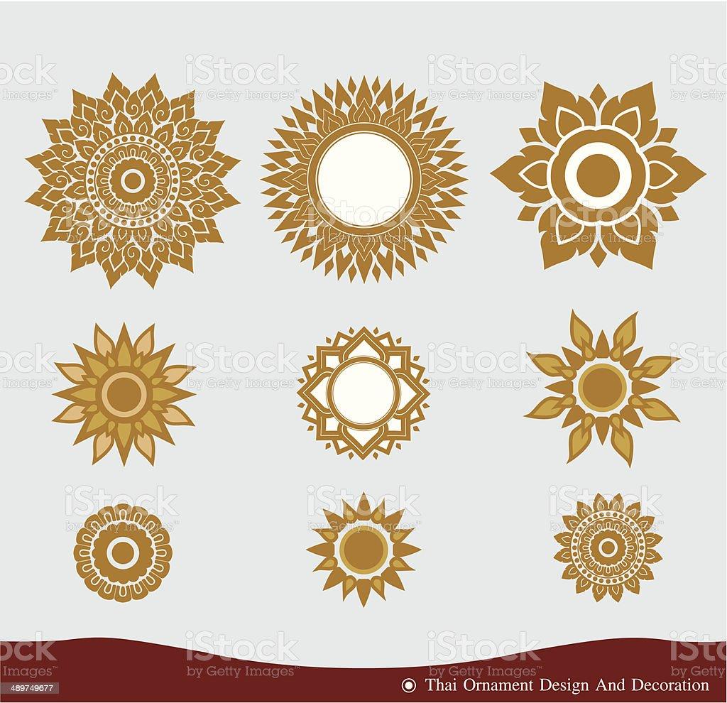 Vector set of Thai ornament design and decoration vector art illustration