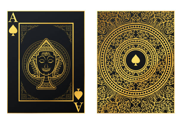 Vector set of thai tradition playing card and icon with decorative ornament Vector set of thai tradition playing card and icon with decorative ornament hanuman stock illustrations
