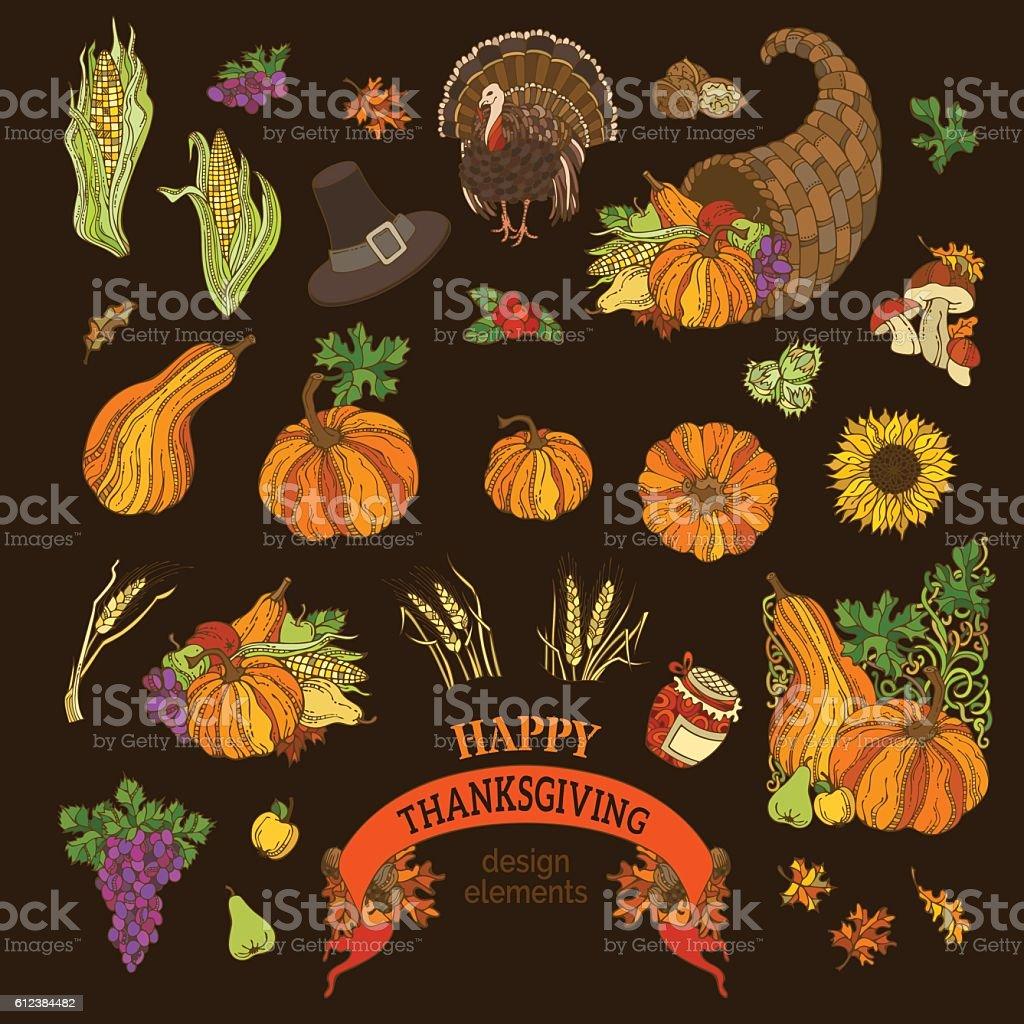Vector set of Thanksgiving design elements. vector art illustration