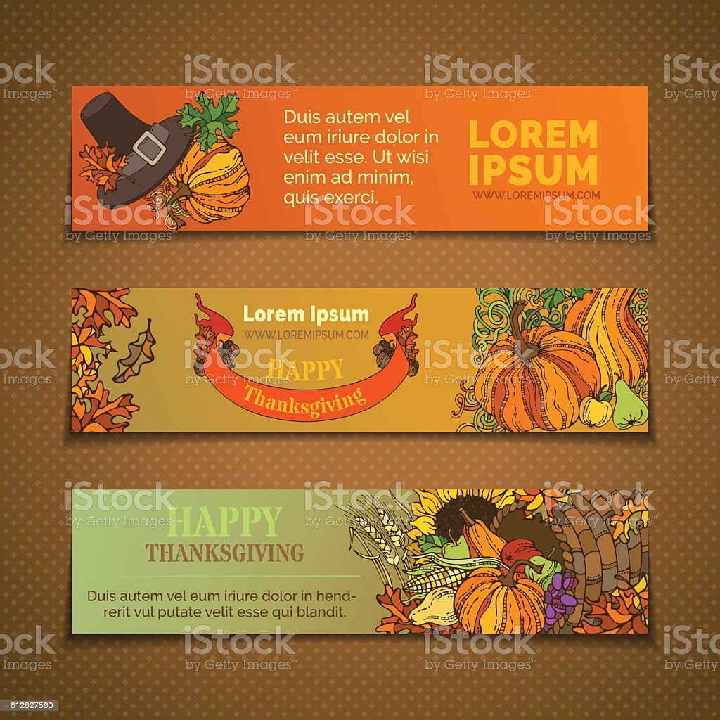 Vector set of Thanksgiving horizontal banners. vector art illustration
