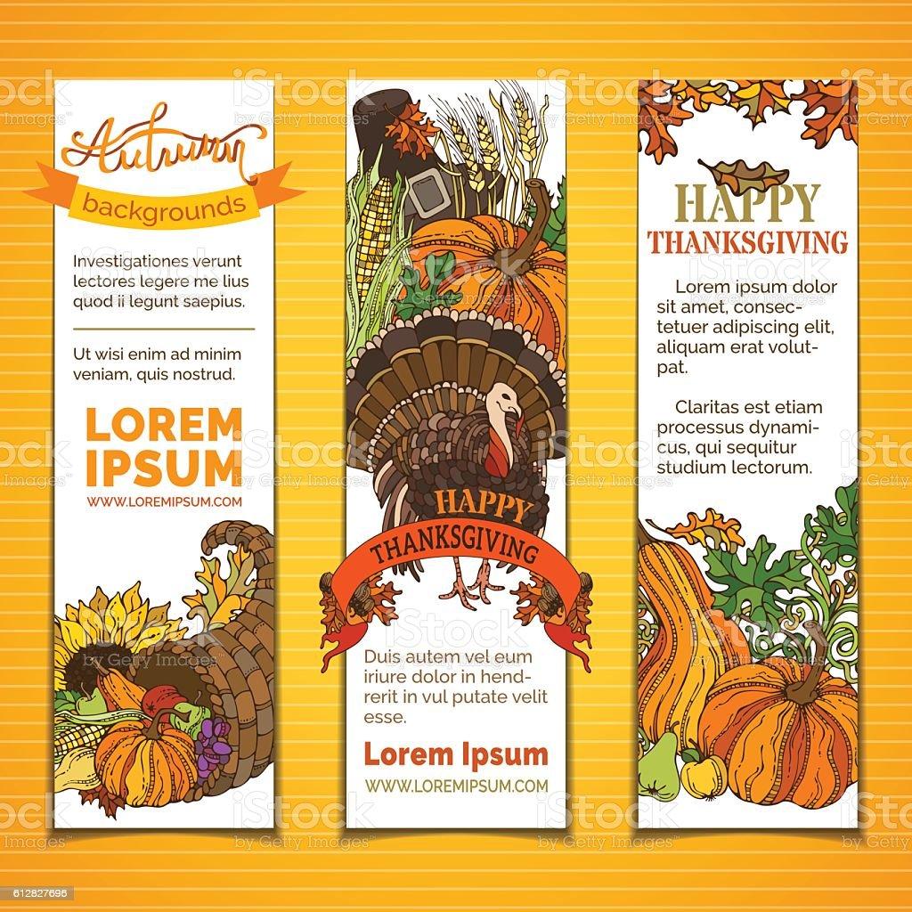 Vector set of Thanksgiving vertical banners. vector art illustration