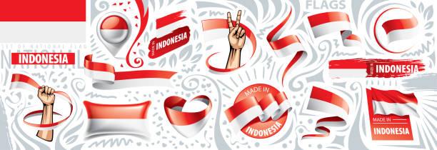 stockillustraties, clipart, cartoons en iconen met vectorreeks van de nationale vlag van indonesië in diverse creatieve ontwerpen - indonesische vlag