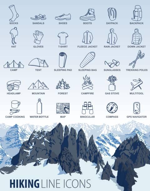 vektor-set von schmalen grat wandern camping reisen symbole mit bergen hintergrund - funktionsjacke stock-grafiken, -clipart, -cartoons und -symbole
