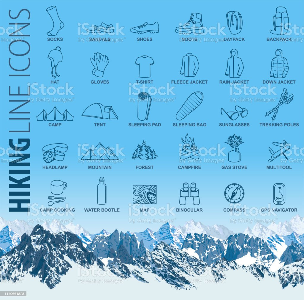 vector set of thin line hiking camping travel Icons with seamless...