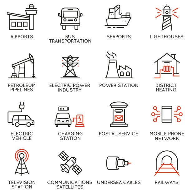 Vector set of thin linear 16 icons related to facility management, smart city and urban development. Mono line pictograms and infographics design elements - part 2 Vector set of thin linear 16 icons related to facility management, smart city and urban development. Mono line pictograms and infographics design elements - part 2 airport icons stock illustrations