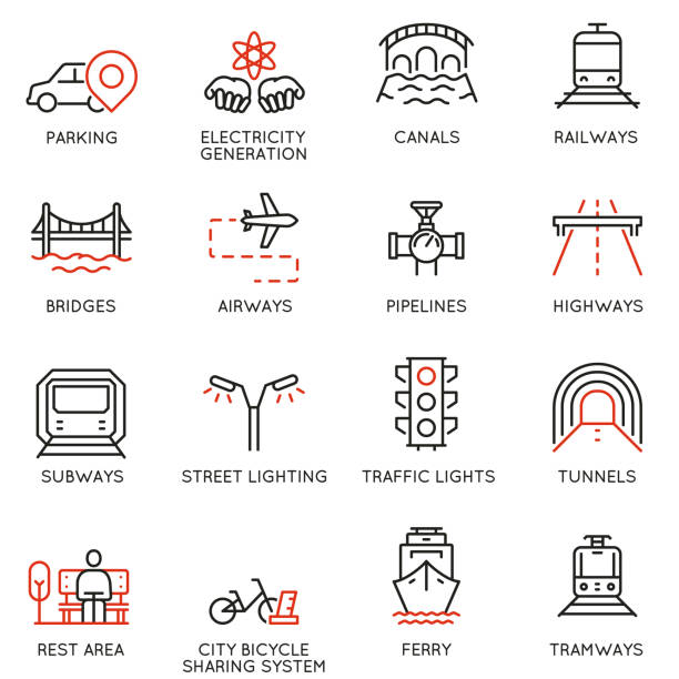 vector set of thin linear 16 icons related to facility management, smart city and urban development. mono line pictograms and infographics design elements - part 1 - в пути stock illustrations