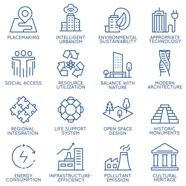 ilustrações de stock, clip art, desenhos animados e ícones de vector set of thin linear 16 icons related to technology for intelligent urbanism, smart city and urban development. mono line pictograms and infographics design elements - part 1 - smart city