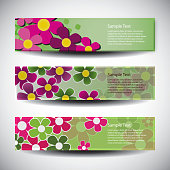 Colorful Header or Banner Set with Abstract Flower Designs Template in Freely Scalable and Editable Vector Format
