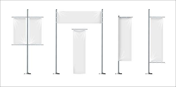 bildbanksillustrationer, clip art samt tecknat material och ikoner med vector uppsättning tre tom, textil banners eller flaggor i olika former, för märkesreklam, marknadsföring, reklam isolerad på bakgrunden. - vertikal