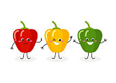 Vector set of three cheerful cartoon bell peppers isolated on white background