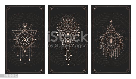 Vector set of three dark backgrounds with geometric symbols, grunge textures and frames. Abstract geometric symbols and sacred mystic signs drawn in lines. Illustration in black and gold colors. For you design and magic craft.