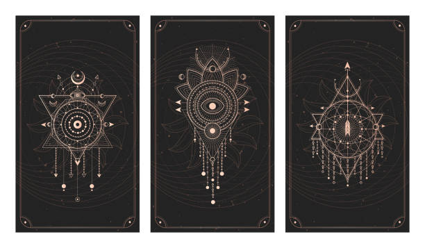 Vector set of three dark backgrounds with geometric symbols, grunge textures and frames. Abstract geometric symbols and sacred mystic signs drawn in lines. Vector set of three dark backgrounds with geometric symbols, grunge textures and frames. Abstract geometric symbols and sacred mystic signs drawn in lines. Illustration in black and gold colors. For you design and magic craft. alchemy stock illustrations