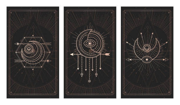 vector set of three dark backgrounds with geometric symbols, grunge textures and frames. abstract geometric symbols and sacred mystic signs drawn in lines. - lodge member stock illustrations