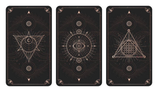 vector set of three dark backgrounds with geometric symbols, grunge textures and frames. - freemasons stock illustrations