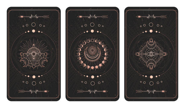 vector set of three dark backgrounds with sacred symbols, grunge textures and frames. illustration in black and gold colors. - freemasons stock illustrations