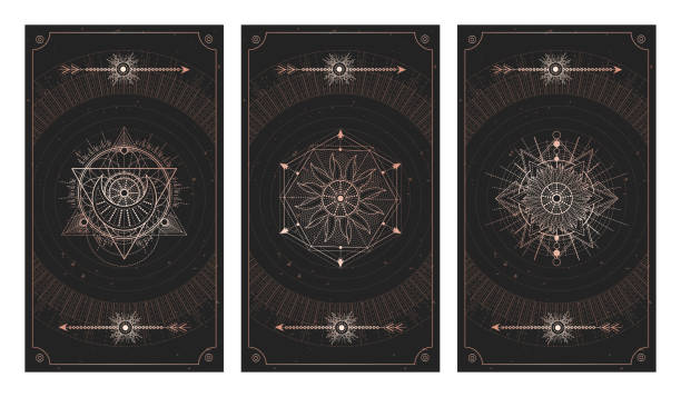vector set of three dark backgrounds with sacred symbols, grunge textures and frames. illustration in black and gold colors. - lodge member stock illustrations