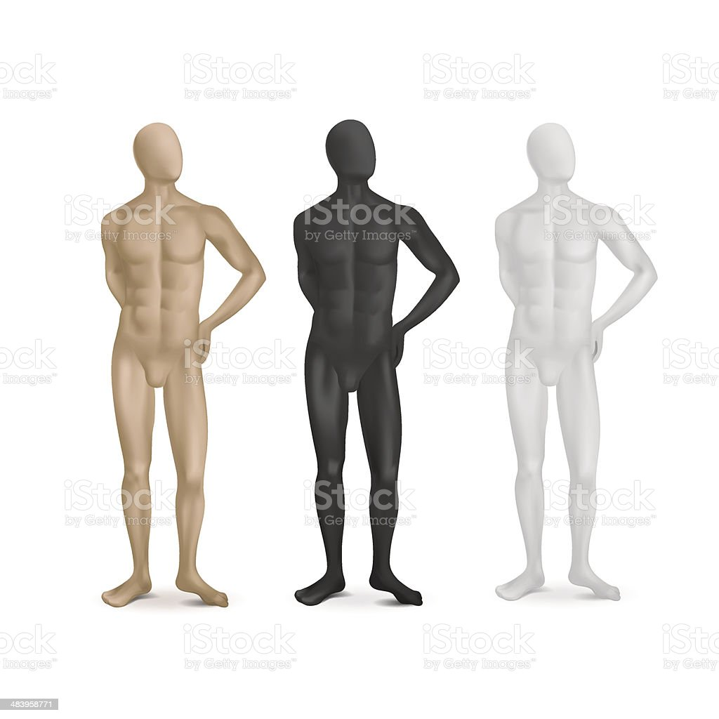 Vector Set of Three Male Mannequins Isolated on White Background royalty-free stock vector art