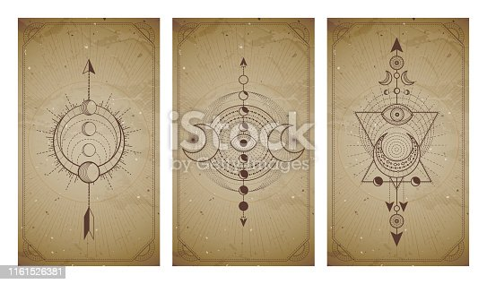 Vector set of three vintage backgrounds with geometric symbols and frames. Abstract geometric symbols and sacred mystic signs drawn in lines. In sepia colors. For you design and magic craft.