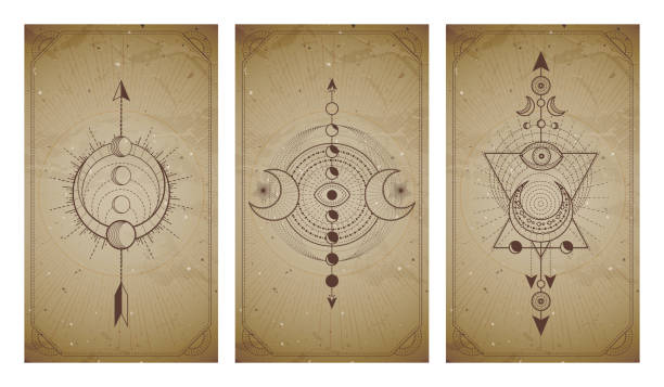 Vector set of three vintage backgrounds with geometric symbols and frames. Abstract geometric symbols and sacred mystic signs drawn in lines. Vector set of three vintage backgrounds with geometric symbols and frames. Abstract geometric symbols and sacred mystic signs drawn in lines. In sepia colors. For you design and magic craft. alchemy stock illustrations